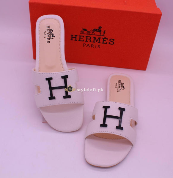 HERMES Paris Women's Slides 2018-White