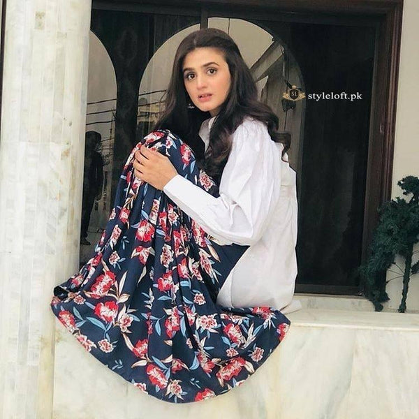 STYLE LOFT.PK Hira Mani Celebrity Spotted Linen Shirt and Trouser 2Pc Dress