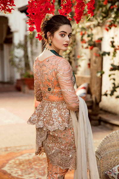 STYLE LOFT.PK Imrozia by Serene Embroidered Chiffon Unstitched 3 Piece Suit SEI19E 705 THE SHIMMER TANGERINE - Luxury Collection