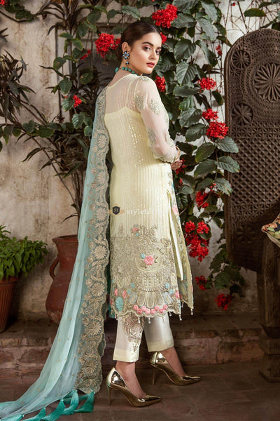 STYLE LOFT.PK Imrozia by Serene Embroidered Chiffon Unstitched 3 Piece Suit SEI19E 707 THE MINTY MARSHMALLOW - Luxury Collection