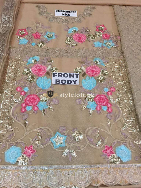 STYLE LOFT.PK Imrozia by Serene Embroidered Chiffon Unstitched 3 Piece Suit SEI19E 710 THE BRONZE TINGE - Luxury Collection
