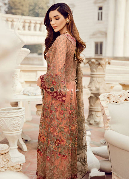 STYLE LOFT.PK Iznik Embroidered Chiffon Unstitched 3 Piece Suit IC19CC 08 Sunset Hues - Luxury Collection