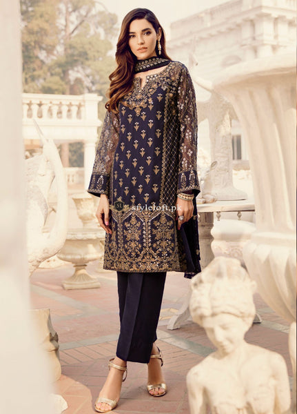 Iznik Embroidered Lawn Unstitched 3 Piece Suit IC19CC 04 Starry Sky
