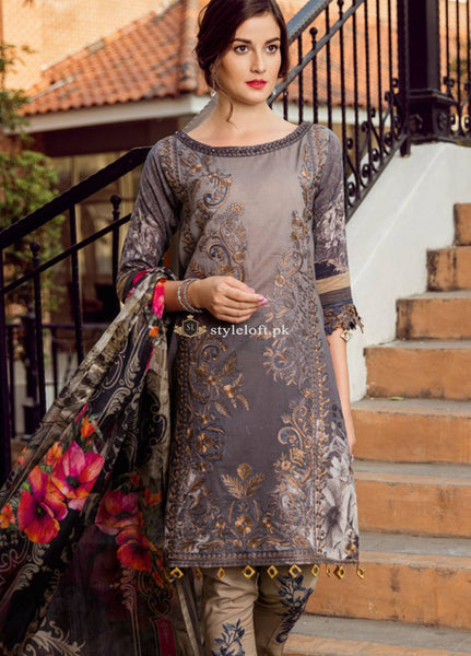 STYLE LOFT.PK Iznik Embroidered Lawn Unstitched 3 Piece Suit IZ19L 08 SUNSET - Spring / Summer Collection