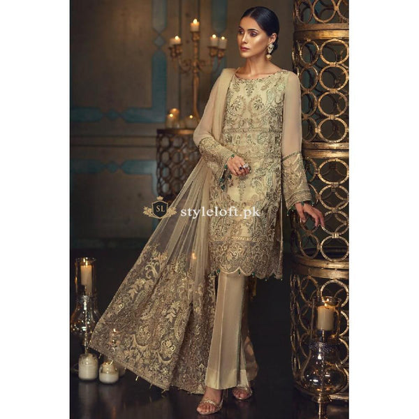 Jazmin Chiffon Collection 3Piece Unstitched Suit D08-Ivory Allure