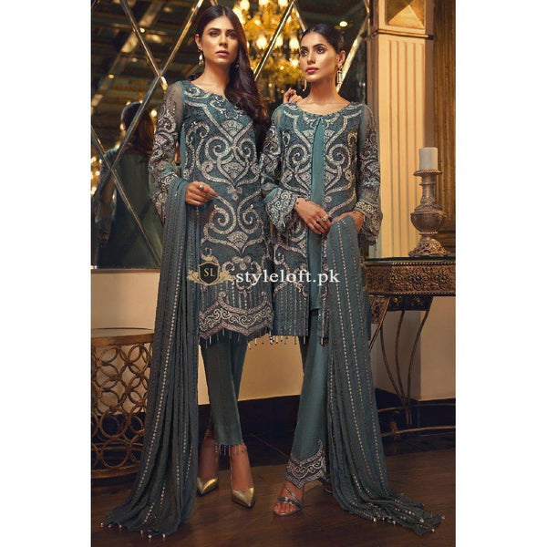 Jazmin Chiffon Collection 3Piece Unstitched Suit D03 Pearl-Deau
