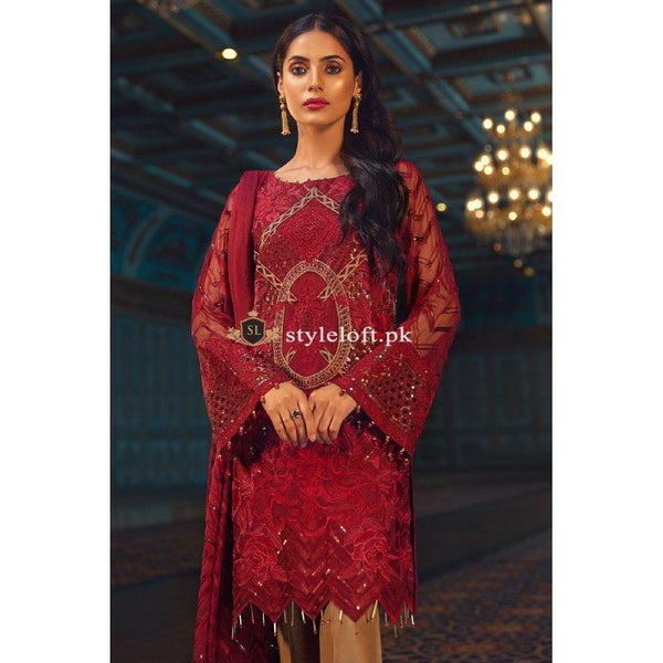 Jazmin Chiffon Collection 3Piece Unstitched Suit Red Beryl