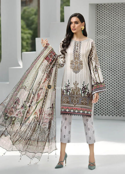 STYLE LOFT.PK Jazmin IRIS Embroidered Linen Unstitched 3 Piece Suit JIR19 GYPSY FLEUR
