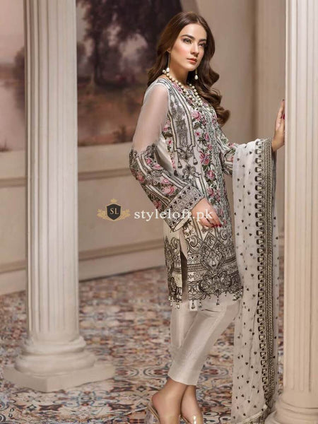 STYLE LOFT.PK Jazmin Luxury Chiffon Eid Collection 2019 3PC Embroidered Suit Nafeesa