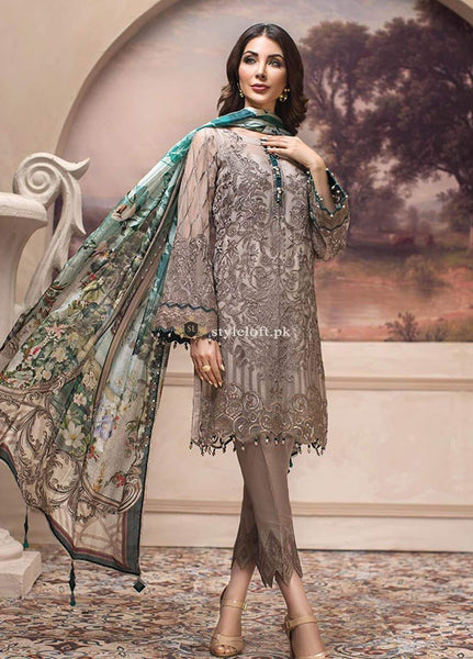 STYLE LOFT.PK Jazmin Luxury Chiffon Eid Collection 2019 3PC Embroidered Suit Shahwar