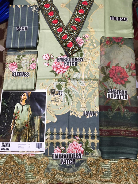 Jazmin Premium Lawn Collection 3PC Unstitched 2019 JZ-9A