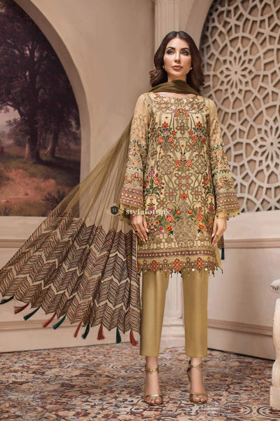 STYLE LOFT.PK Jazmin Shahnameh Eid Chiffon Collection 2019 3PC Embroidered Suit - Kashm