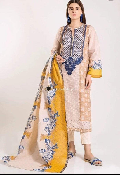 STYLE LOFT.PK Khaadi Embroidered 3 Piece Linen Collection 2019 – B19423-Beige