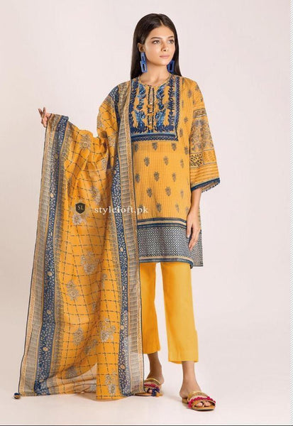 STYLE LOFT.PK Khaadi Embroidered 3 Piece Linen Collection 2019 – M19421-Yellow