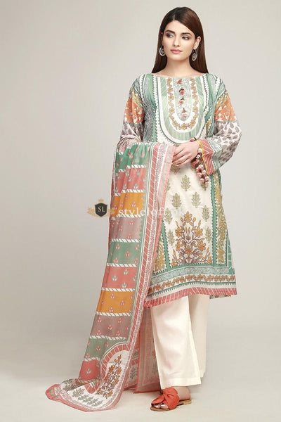 Khaadi Embroidered Lawn Collection 2019 Vol.1 3Pc Suit BF-19106