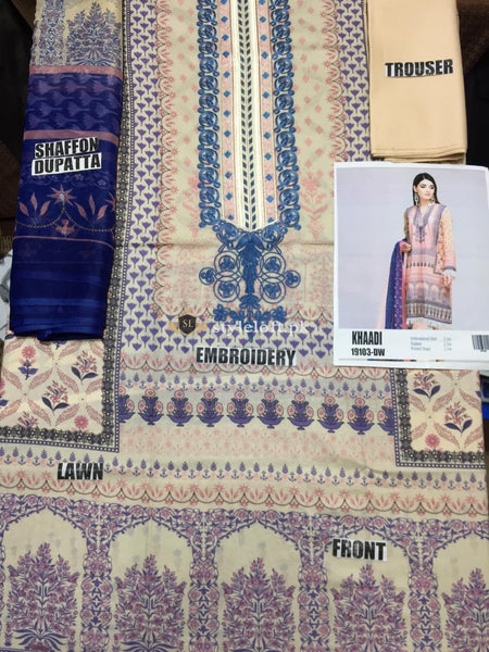 Khaadi Embroidered Lawn Unstitched 3Pc Suit 19103-Peach