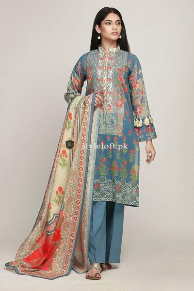Khaadi Embroidered Lawn Unstitched 3Piece Suit 19110-Blue