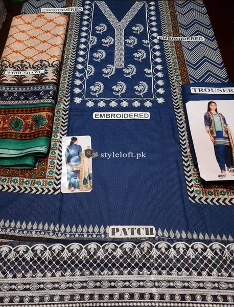 STYLE LOFT.PK Khaadi Embroidered Linen Unstitched 3 Piece Suit A19421-Blue