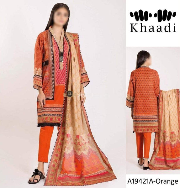 STYLE LOFT.PK Khaadi Embroidered Linen Unstitched 3 Piece Suit A19421-Orange