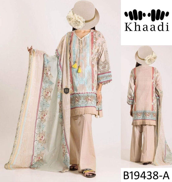STYLE LOFT.PK Khaadi Embroidered Linen Unstitched 3 Piece Suit B19438-A