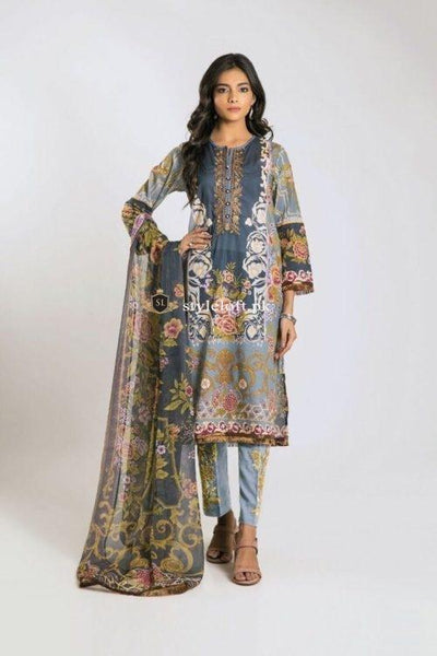 STYLE LOFT.PK Khaadi Embroidered Linen Unstitched 3 Piece Suit KF19201