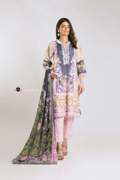 STYLE LOFT.PK Khaadi Embroidered Linen Unstitched 3 Piece Suit KF19201-B
