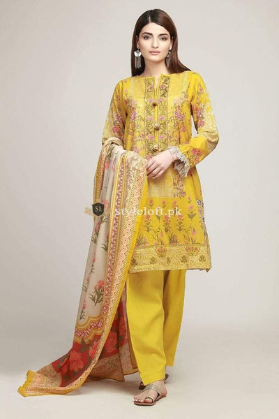 STYLE LOFT.PK Khaadi Embroidered Marina Linen Unstitched 3 Piece Suit KH1908-A