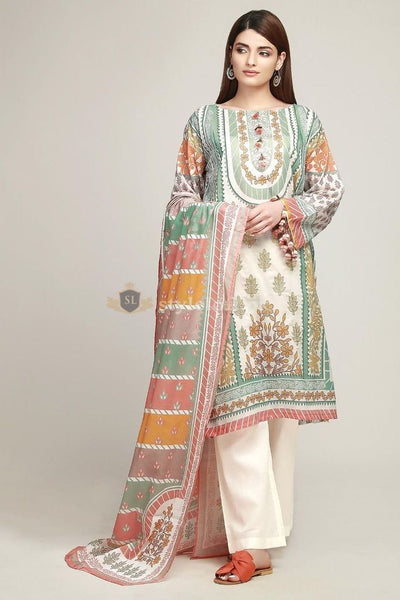 STYLE LOFT.PK Khaadi Lawn Collection 2019 Unstitched 3 Piece Suit -Off White -BF 19106