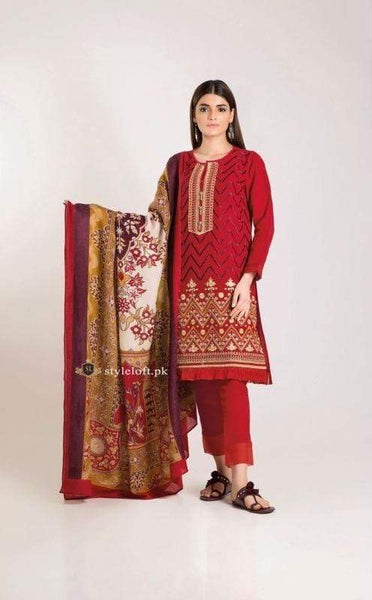 STYLE LOFT.PK Khaadi Unstitched Winter Vibe Collection 2019 - KO19503-Red