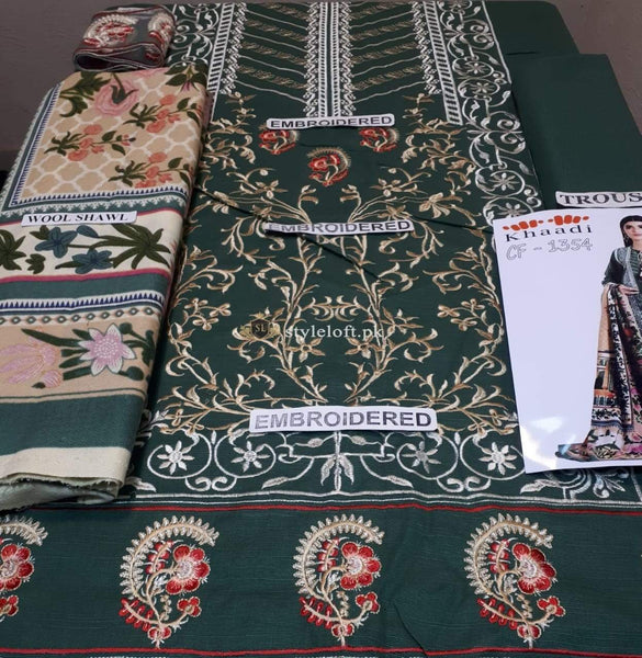 STYLE LOFT.PK Khaadi Unstitched Winter Vibe Collection 2019 - KO19507-Green