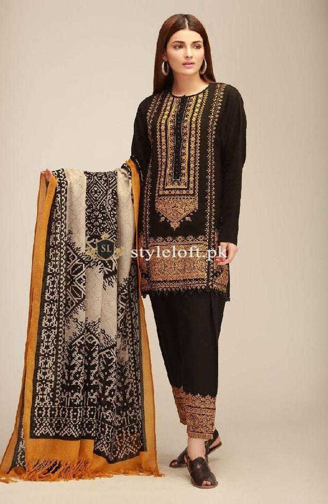20a538d74 ... Khaadi Winter 2018 3Piece KH-403A-Black ...