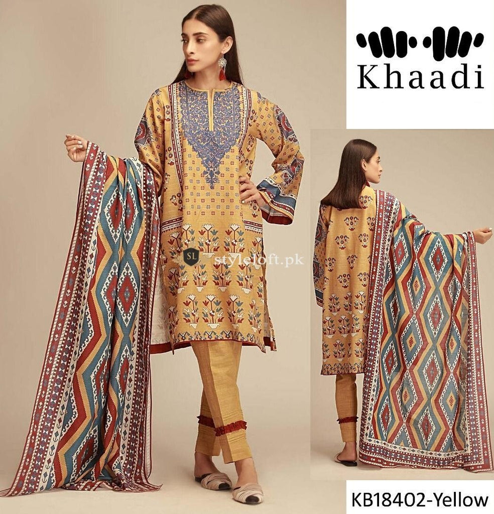 c9525711d ... Khaadi Winter 3Piece with Wool Shawl KH-18402-Yellow ...