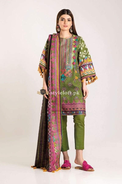 STYLE LOFT.PK Khaadi Winter Vibe Collection 2019 – KB19503-Green 3Pc Suit