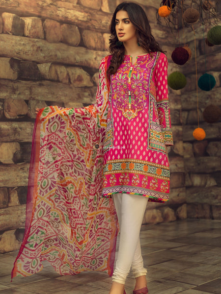 Limelight Embroidered Lawn Unstitched 3 Piece Suit Folk-Magic