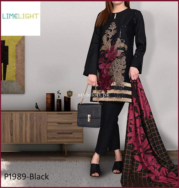STYLE LOFT.PK Limelight Embroidered Linen Unstitched 3 Piece Suit 1989-Black