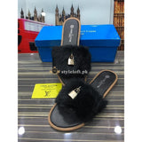 Louis Vuitton Women's Open Told Footbed Slide-Black