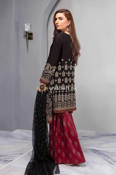 STYLE LOFT.PK Maria B Chiffon Eid Collection 2019 Unstitched 3 Piece Suit DW-2197-Black