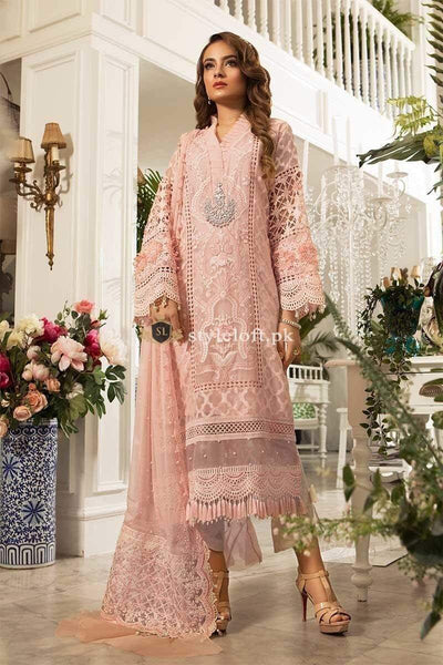 21095ac99e MARIA.B. Eid Unstitched MBROIDERED 3Piece Chiffon Suit – Peachy Pink ...