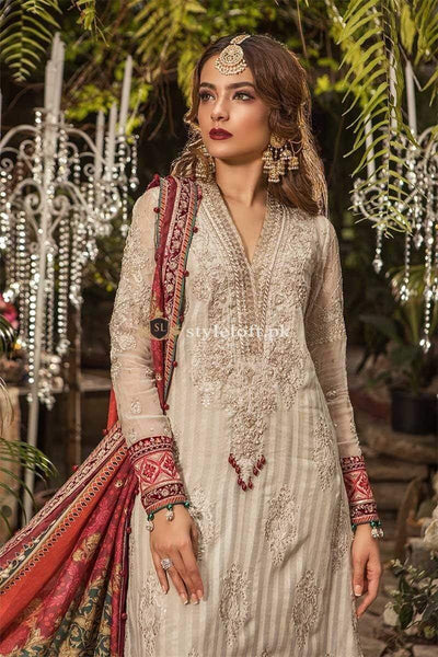STYLE LOFT.PK Maria B Embroidered Chiffon Unstitched 3 Piece Suit MB19E 1603 - Eid Collection