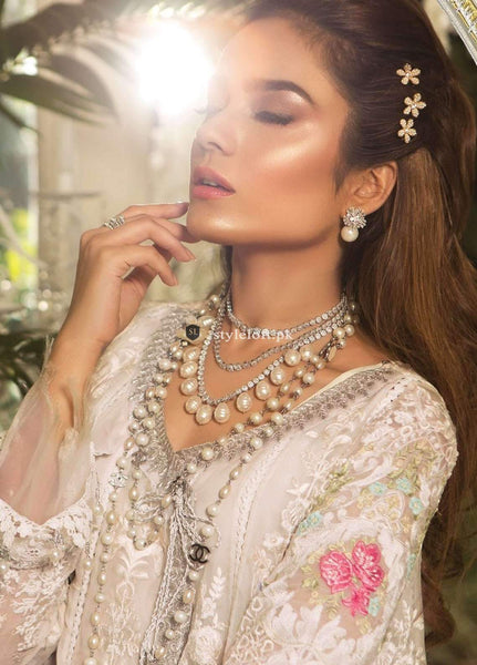 STYLE LOFT.PK Maria B Embroidered Chiffon Unstitched 3 Piece Suit MB19E 1604 - Eid Collection