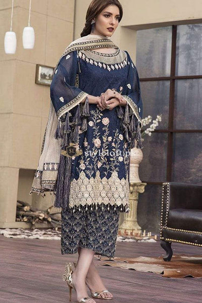 STYLE LOFT.PK Maria B Embroidered Chiffon Unstitched 3 Piece Suit MB19E 1605 - Eid Collection