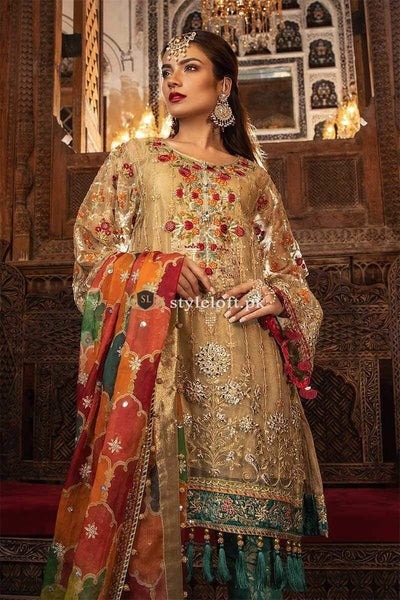 STYLE LOFT.PK Maria B Embroidered Heritage Collection Unstitched 3 Piece Suit Gold BD-1707