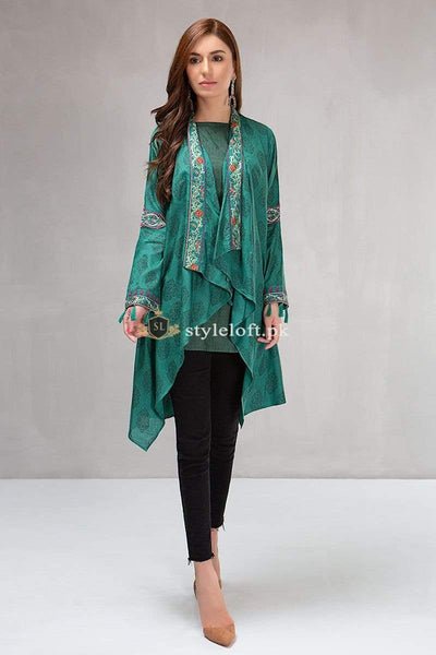 STYLE LOFT.PK Maria B Embroidered Lawn Collection 2019 3Pc Suit Green DW-2146