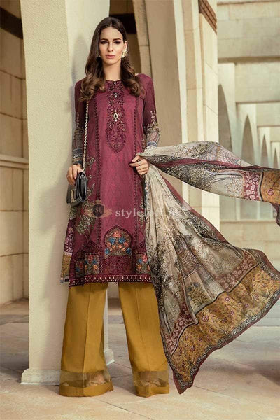 STYLE LOFT.PK Maria B Embroidered Lawn Collection 2019 Unstitched 3 Piece Suit- D-1913-A