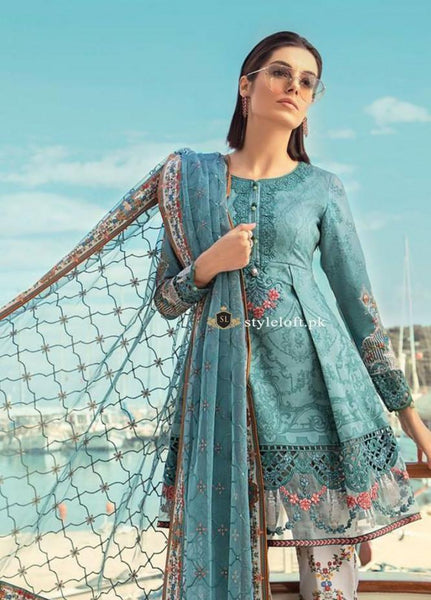 6902cf4cf4 Maria B Embroidered Lawn Collection 2019 Unstitched 3 Piece Suit MB19L 15A  - Spring / Summer Collection Maria B Embroidered Lawn Collection 2019 ...