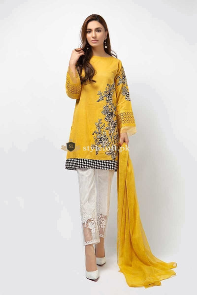 Maria.B Embroidered Lawn Collection 2Pc Suit dw-2184-yellow