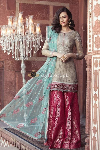 Maria.B Embroidered Lawn Replica Collection 3Pc Suit Sea-Green