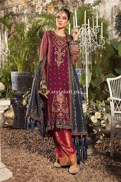 STYLE LOFT.PK Maria B Embroidered Lawn Unstitched 3 Piece Suit MB19E-1605 - Spring Summer Collection