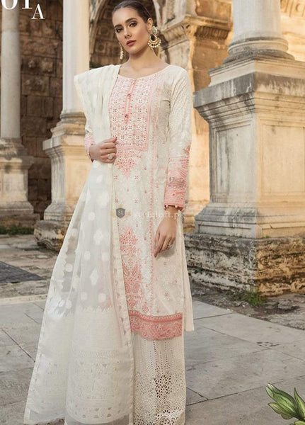 cb4912d972a PK Maria B Embroidered Lawn Unstitched 3 Piece Suit MB19L 01A - Spring ...