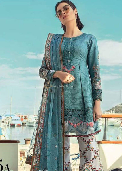 STYLE LOFT.PK Maria B Embroidered Lawn Unstitched 3 Piece Suit MB19L 15B - Spring / Summer Collection